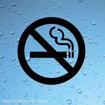2 X No Smoking Black Sign Window Stickers Transparent Clear Signs (Stkpn00083)