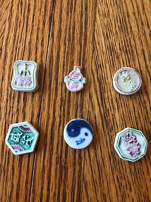 Siamese Porcelain Gaming Gambling Tokens: Lot of 6.
