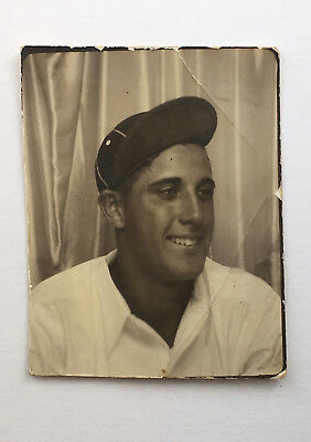 Vtg 1930's Photobooth booth Photo - GOOD LOOKING YOUNG MAN BASEBALL CAP ID'd