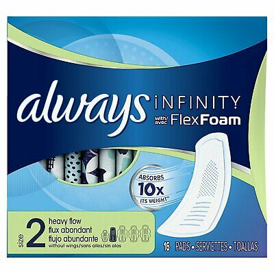 Always Infinity Pads Without Wings Heavy Flow - 16 Count (Pack of 3)