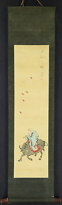 """CHINESE HANGING SCROLL ART Painting """"Oldman on cow"""" Asian antique  #E2167"""