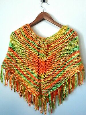 Funky Vintage Kids Crochet Poncho Orange Yellow Green Suit Ages 4-9