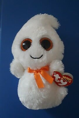 TY Beanie Boo Ghosty the Ghost Sparkle eyes Red tags