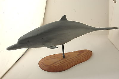 "Bottle Nose Dolphin Wood Carving on a Stand 1998, Carved Name on it ""WHITE"""
