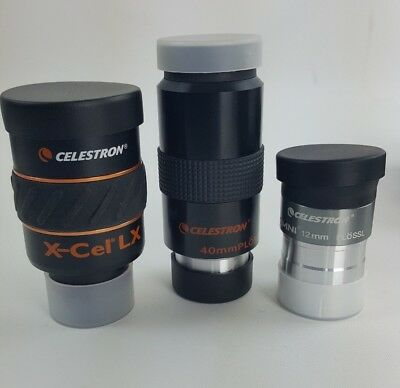 set of 3 Celestron eyepieces complete with focus mask