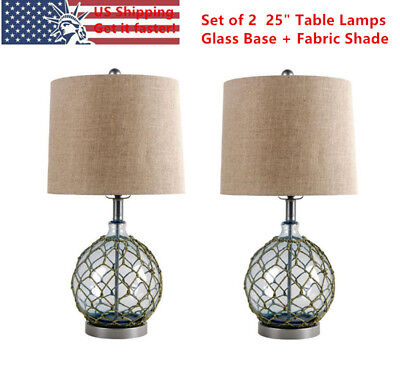 "25"" Blue Glass Bedside Desk Table Lamps w/ Fabric Shade Night Lights Set of 2 US"