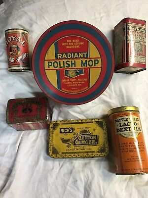 Vintage Tin Can 6  pc Lot Swee-Touch Tea,Royal BP,Canton Ginger,Battle Creek Dex