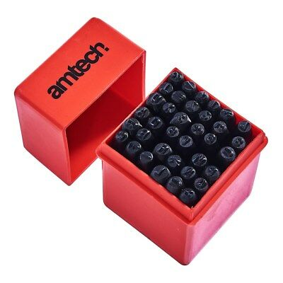 36pc Number and Letter Punch Set Chassis Stamp 5.5mmx6mm Carbon Steel - Amtech