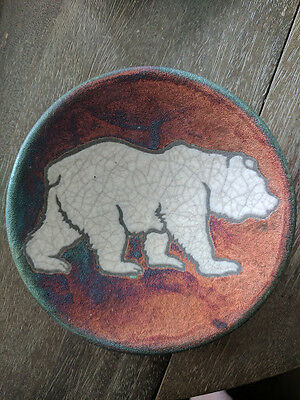 Raku Pottery Polar Bear Plate