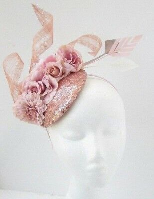 Rose Gold Blush Light Pink Flower Feather Hat Hair Fascinator Races Sequin 5848