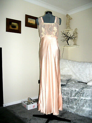 Stunning Vtg Long Pink Rayon Liquid Satin Nightdress Nightie Slip Size 14-16