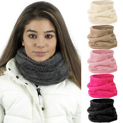 Mens Ladies Kids Warm Teddy Fur Fleece Soft Microfibre Snood Neckwarmer Scarf