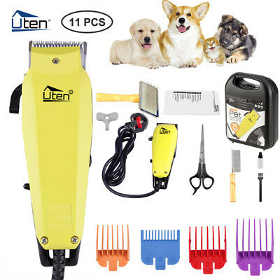 11Pcs Professional Electric Pet Dog Hair Clippers Shaver Grooming Trimmer Kit UK