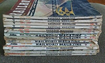 LOT of 13 Vintage Railroad Magazine Issues Train Stories Pulp 1947 1948 1949