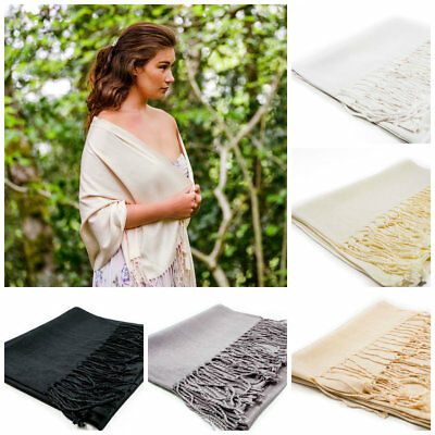 Pashmina Shawls Wraps Scarf for Women Wedding Guests Silver Cream Beige White