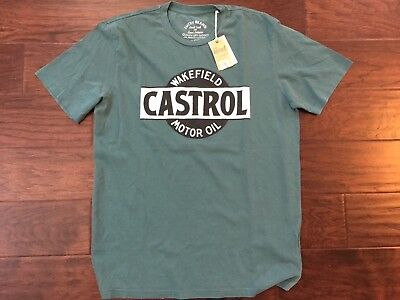 Lucky Brand - Mens M - NWT - Green Retro Castrol  Motor Oil Cotton Tee Vintage