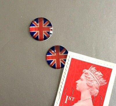 2 Union Jack Flag Stickers Domed Finish Red, Blue & Chrome Miniature 10mm Dia