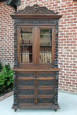 Antique French Oak Black Forest GOTHIC Bookcase Cabinet Chest of Drawers 19th C