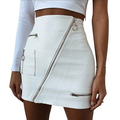 Fashion Women High Waist PU Leather Mini Skirt Plain Flared Zipper Short Skirt