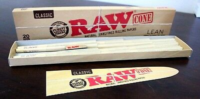 Raw Classic Lean Size Pre Rolled Cones~20 Cones Per Pack~Factory Box
