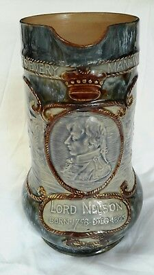 Royal Doulton Stoneware ~1905 ~ Commerative Lord Nelson Water Jug.
