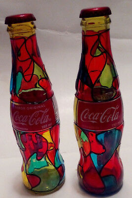 """Painted """"Stained Glass"""" Coca Cola Bottle x2 (Ships Same Day!)"""