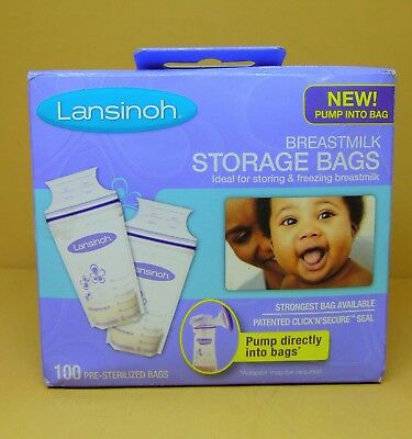 Lansinoh Breastmilk Storage Bags 100 Count BPA Free and BPS Free NEW