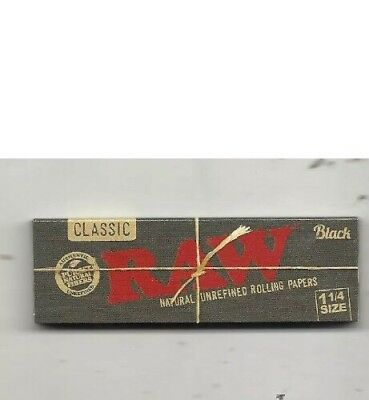 RAW Black Classic 1 1/4 Size Rolling Paper - 1 PACK - 50 Leaves Per Pack