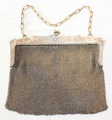 Antique Hallmarked 800 SILVER FRENCH RING MESH PURSE, Gold Wash~194 grams