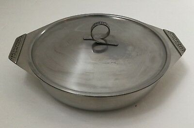 Vintage Stainless Steel Serving Casserole Dish Lid 7 Inch Etched Handle Japan