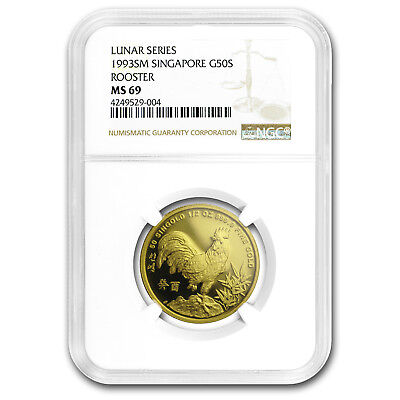1993 Singapore 1/2 oz Gold 50 Singold Rooster MS-69 NGC - SKU#169265