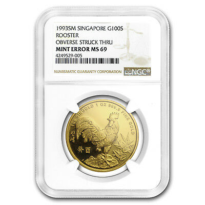 1993 Singapore 1 oz Gold 100 Singold Rooster MS-69 NGC Mint Error - SKU#169266
