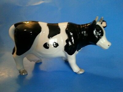 "Holstein Black/White Cow Porcelain 7"" Long Figurine Collectible Cattle Decor"