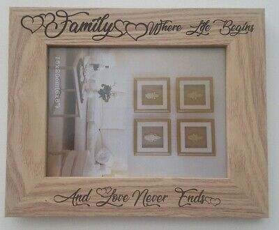 """Photo Frame Family Quote 8x6"""" Landscape White Wood Effect"""