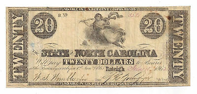 1862 The State of North Carolina, Raleigh - Twenty Dollar Obsolete Note No.3281