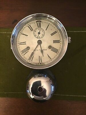 Seth Thomas External Bell Ship Clock Nickel in great shape works good