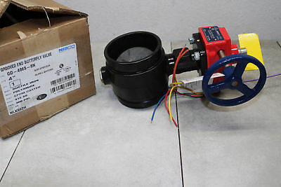 """Nibco 4"""" Grooved Ductile End Butterfly Valve Iron 300PSI NLK662H GD-4865-8N"""