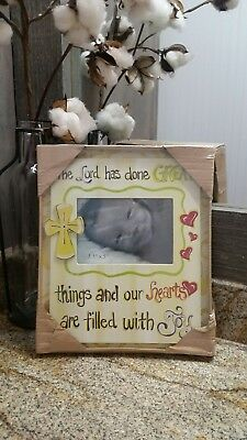 Baby Boy/Girl Picture Frame Handpainted Cross Brand New!!