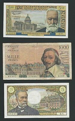 France      Lot of 3      5,1000 Francs, 5 New Francs   1955, 62, 66       F-VF+