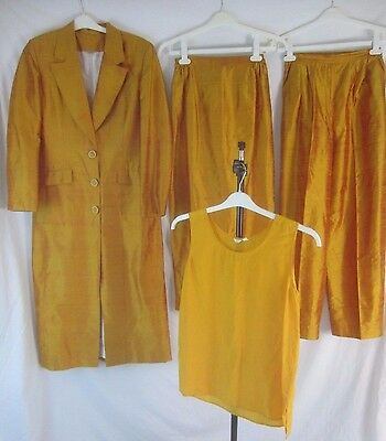 VTG 100% Silk Womens 8(VTG Size)Orange Long Jacket Pants Skirt Top Set BB12