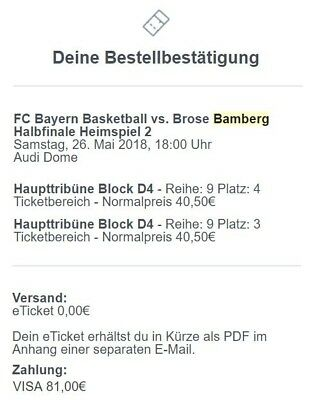 Basketball Playoffs 2018 / 2 Tickets / FC Bayern - Brose Bamberg / BBL / eTicket
