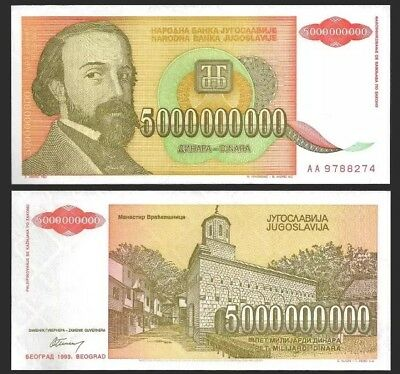 YUGOSLAVIA 5000000000 (5 Billion) Dinara, 1993, P-135, aUNC World Currency