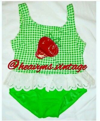 Vintage Green Gingham Strawberry Eyelet One Piece Swimsuit Baby Toddler Girls 2T