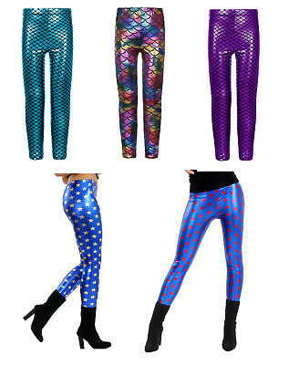 Girls Fish Scale Star Mermaid Leggings Stretch Foil Wet Shiny Disco Party Pants
