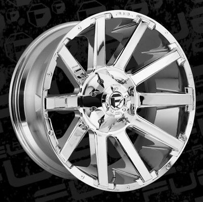 22x12 FUEL D614 8x6.5 ET-44 Chrome Rims New Set (4)