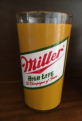 Vintage 1980's Miller High Life Beer Glass Tumbler Mancave Barware Decor