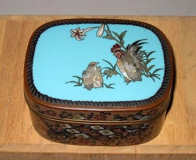 Fine Quality Meiji Japanese Silver Wire Cloisonne Box/Vase with Rooster and Hen
