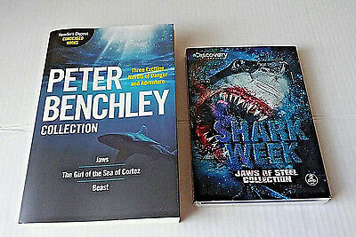 Shark LOT Book DVD Shark Week Peter Benchley JAWS Great White Shark FISH