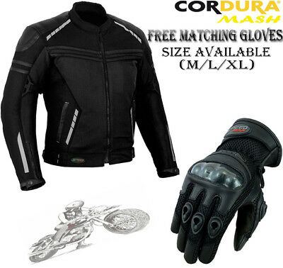 Mens Black Mesh Vented Ce Summer Motorbike Motorcycle Textile Jacket & Gloves