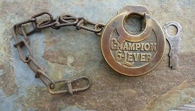 Antique Solid Brass Champion Six Lever Pancake Padlock & Original Key